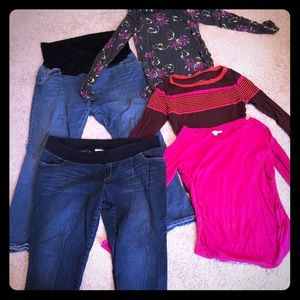 BUNDLE maternity denim and tops